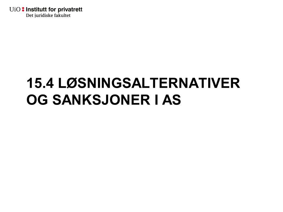 15.4 LØSNINGSALTERNATIVER OG SANKSJONER I AS