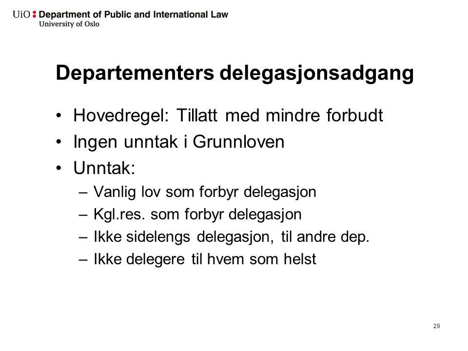 Departementers delegasjonsadgang Hovedregel: Tillatt med mindre forbudt Ingen unntak i Grunnloven Unntak: –Vanlig lov som forbyr delegasjon –Kgl.res.