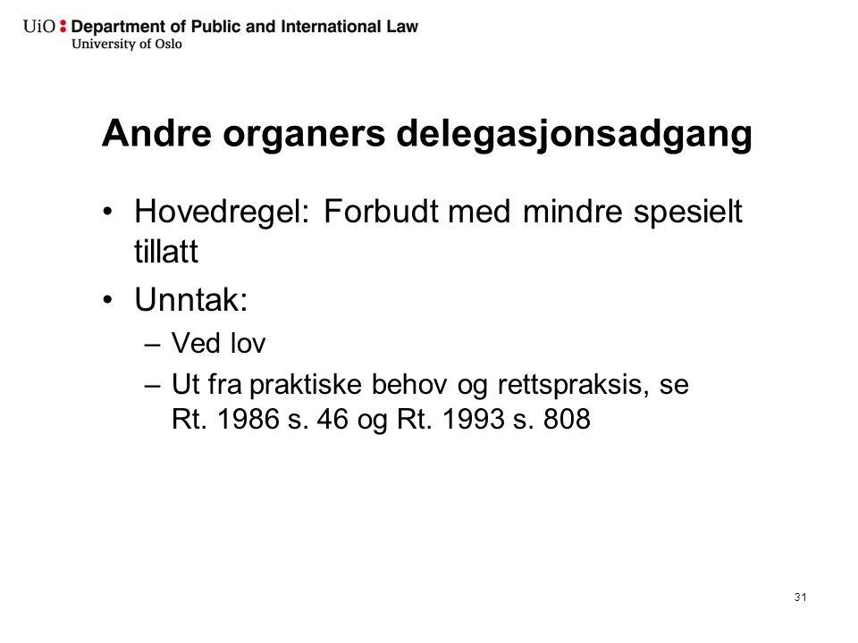 Andre organers delegasjonsadgang Hovedregel: Forbudt med mindre spesielt tillatt Unntak: –Ved lov –Ut fra praktiske behov og rettspraksis, se Rt. 1986