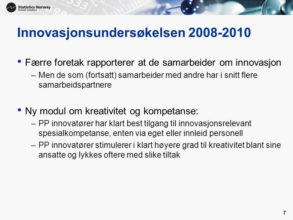 7 Innovasjonsundersøkelsen 2008-2010 Færre foretak rapporterer at de samarbeider om innovasjon –Men de som (fortsatt) samarbeider med andre har i snit