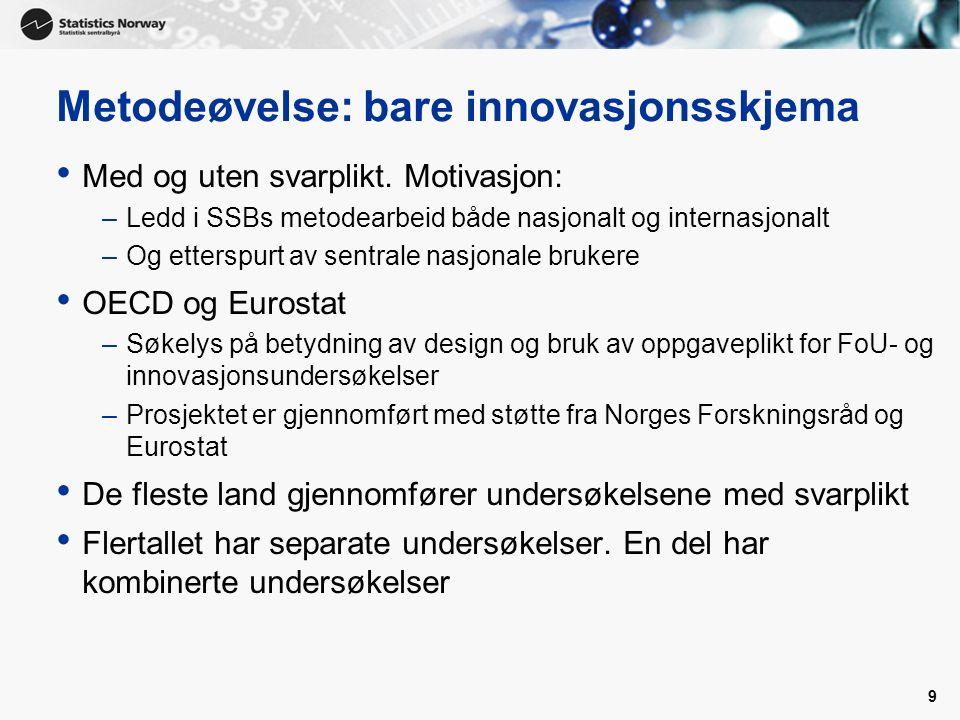 9 Metodeøvelse: bare innovasjonsskjema Med og uten svarplikt. Motivasjon: –Ledd i SSBs metodearbeid både nasjonalt og internasjonalt –Og etterspurt av