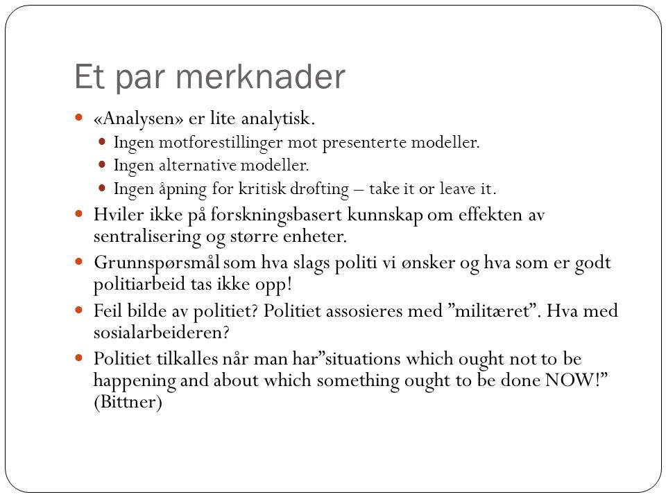 Et par merknader «Analysen» er lite analytisk. Ingen motforestillinger mot presenterte modeller.