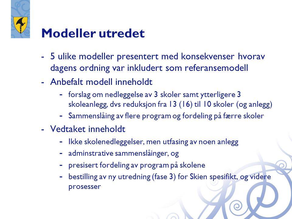 Modeller utredet -5 ulike modeller presentert med konsekvenser hvorav dagens ordning var inkludert som referansemodell -Anbefalt modell inneholdt - forslag om nedleggelse av 3 skoler samt ytterligere 3 skoleanlegg, dvs reduksjon fra 13 (16) til 10 skoler (og anlegg) - Sammenslåing av flere program og fordeling på færre skoler -Vedtaket inneholdt - Ikke skolenedleggelser, men utfasing av noen anlegg - adminstrative sammenslåinger, og - presisert fordeling av program på skolene - bestilling av ny utredning (fase 3) for Skien spesifikt, og videre prosesser