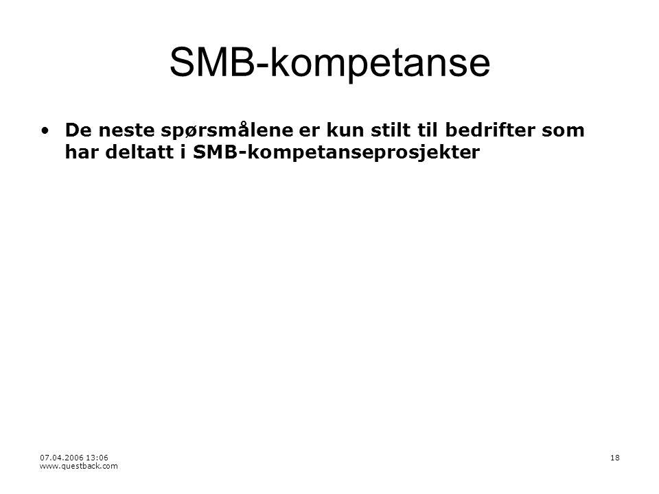 07.04.2006 13:06 www.questback.com 18 SMB-kompetanse De neste spørsmålene er kun stilt til bedrifter som har deltatt i SMB-kompetanseprosjekter
