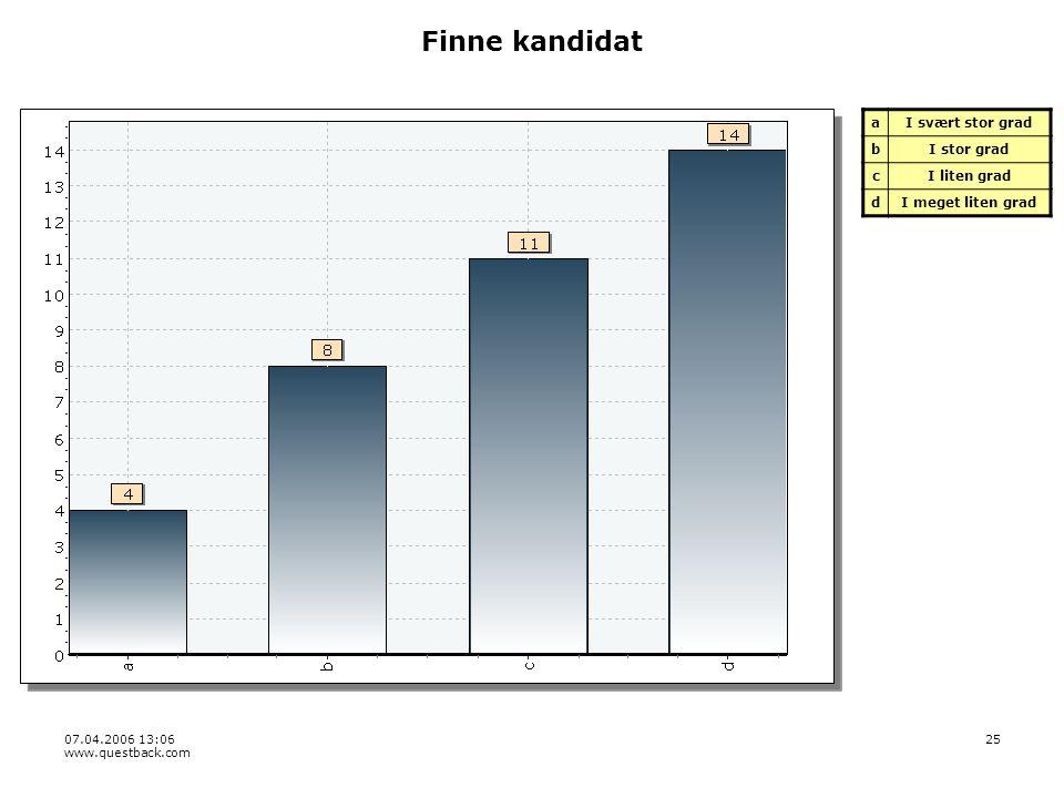 07.04.2006 13:06 www.questback.com 25 Finne kandidat aI svært stor grad bI stor grad cI liten grad dI meget liten grad