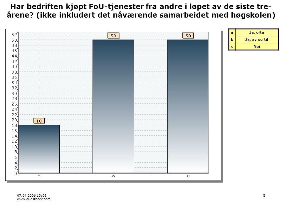 07.04.2006 13:06 www.questback.com 46 Bedre kjennskap til høgskolens kompetanse aI meget stor grad bI stor grad cI liten grad dI ingen eller svært liten grad