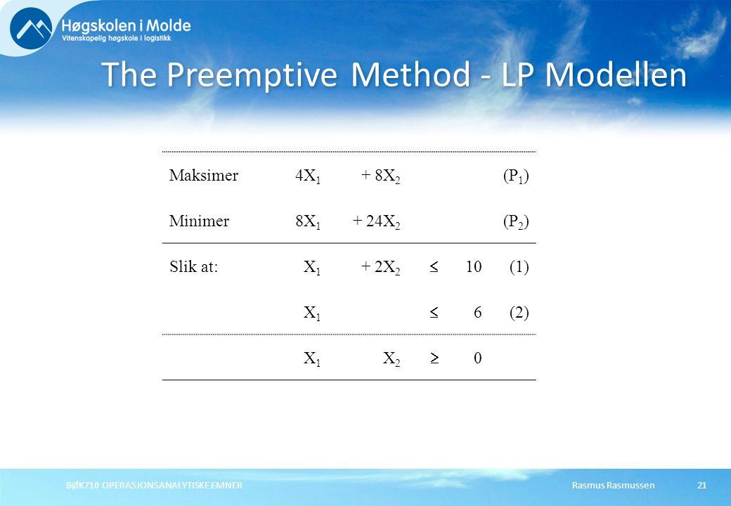 Rasmus RasmussenBØK710 OPERASJONSANALYTISKE EMNER21 The Preemptive Method - LP Modellen Maksimer4X 1 + 8X 2 (P 1 ) Minimer8X 1 + 24X 2 (P 2 ) Slik at:X1X1 + 2X 2  10(1) X1X1  6(2) X1X1 X2X2  0
