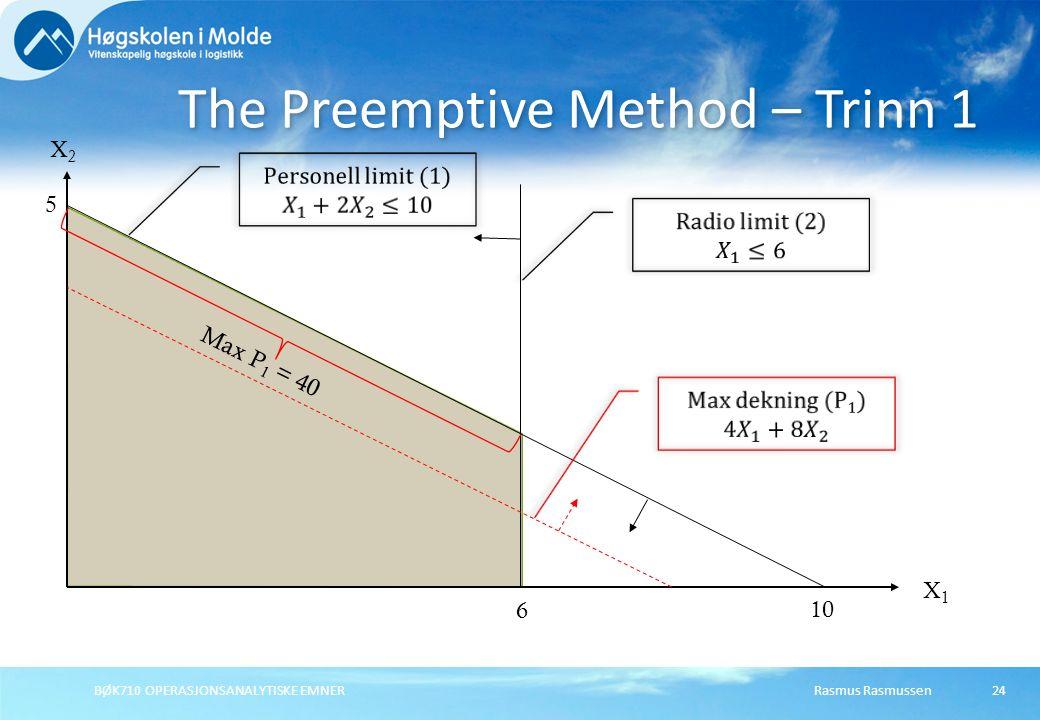 Rasmus RasmussenBØK710 OPERASJONSANALYTISKE EMNER24 The Preemptive Method – Trinn 1 X1X1 X2X2 5 10 6 Max P 1 = 40