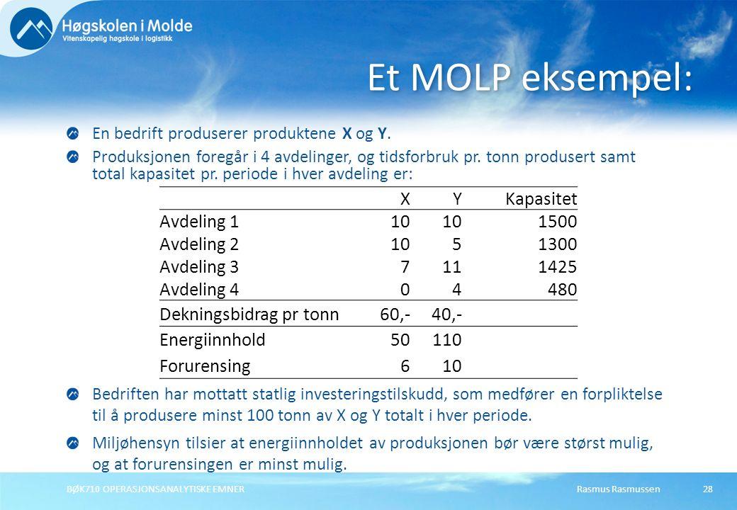 Rasmus RasmussenBØK710 OPERASJONSANALYTISKE EMNER28 En bedrift produserer produktene X og Y. Produksjonen foregår i 4 avdelinger, og tidsforbruk pr. t