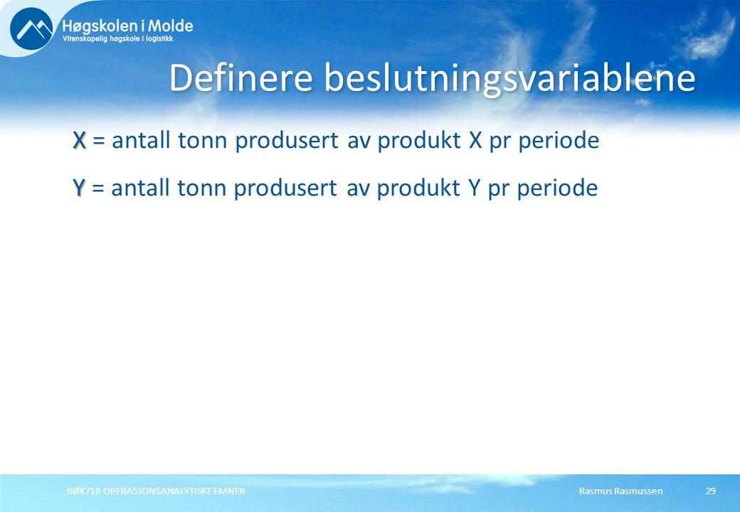 Rasmus RasmussenBØK710 OPERASJONSANALYTISKE EMNER29 X X = antall tonn produsert av produkt X pr periode Y Y = antall tonn produsert av produkt Y pr pe