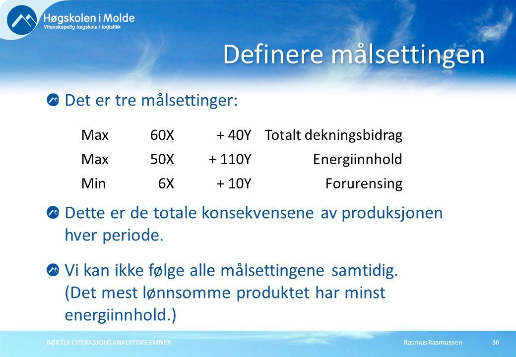 Rasmus RasmussenBØK710 OPERASJONSANALYTISKE EMNER30 Det er tre målsettinger: Definere målsettingen Max60X+ 40YTotalt dekningsbidrag Max50X+ 110YEnergiinnhold Min6X+ 10YForurensing Dette er de totale konsekvensene av produksjonen hver periode.