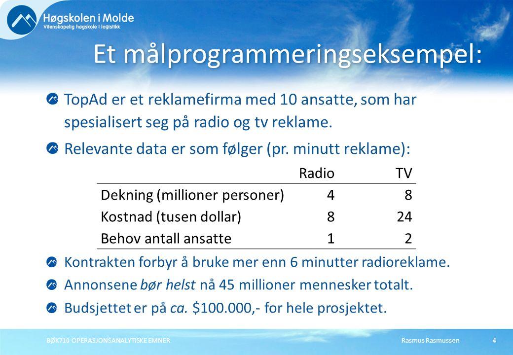 Rasmus RasmussenBØK710 OPERASJONSANALYTISKE EMNER5 X 1 X 1 = antall minutter radio-reklame daglig X 2 X 2 = antall minutter tv-reklame daglig Definere beslutningsvariablene