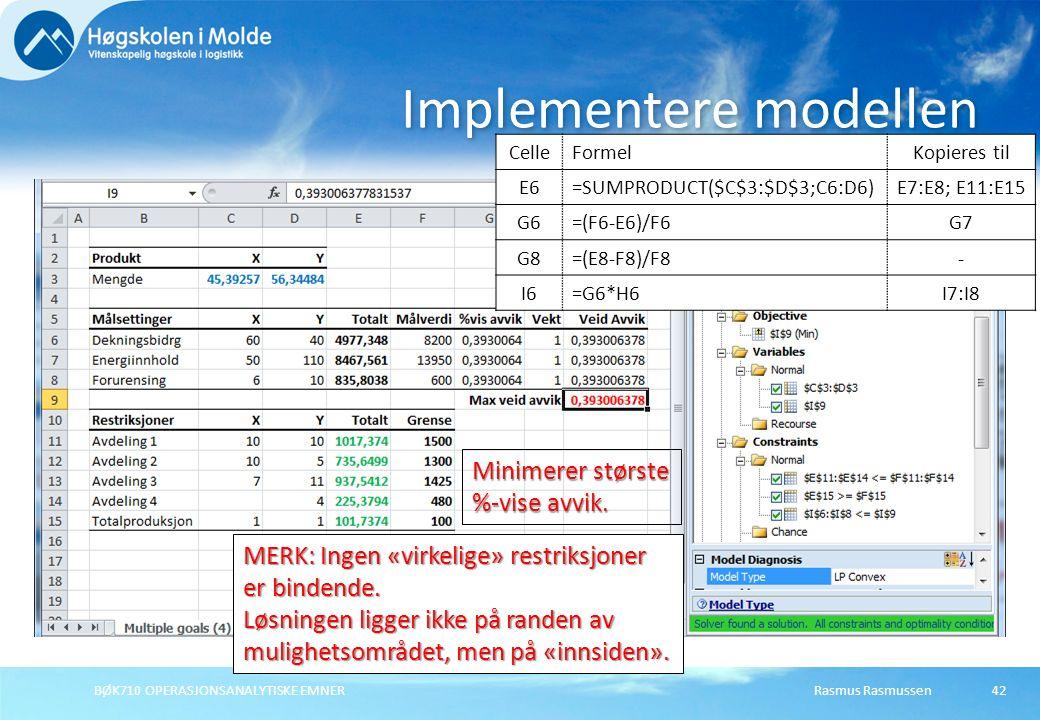 Rasmus RasmussenBØK710 OPERASJONSANALYTISKE EMNER42 Implementere modellen Minimerer største %-vise avvik. MERK: Ingen «virkelige» restriksjoner er bin