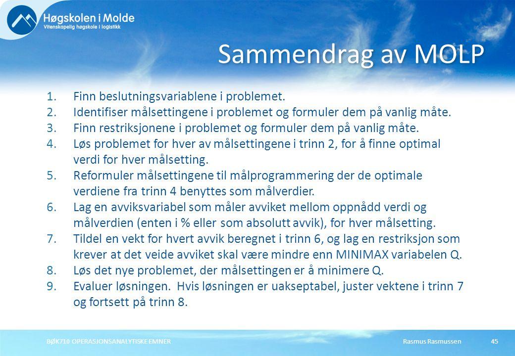 Rasmus RasmussenBØK710 OPERASJONSANALYTISKE EMNER45 1.Finn beslutningsvariablene i problemet. 2.Identifiser målsettingene i problemet og formuler dem