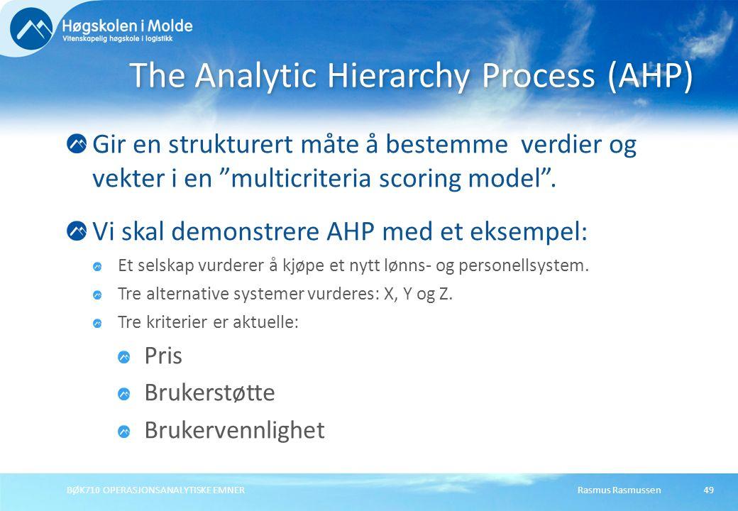 """Rasmus RasmussenBØK710 OPERASJONSANALYTISKE EMNER49 Gir en strukturert måte å bestemme verdier og vekter i en """"multicriteria scoring model"""". Vi skal d"""