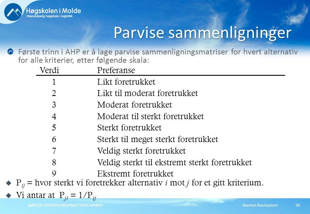 Rasmus RasmussenBØK710 OPERASJONSANALYTISKE EMNER50 Parvise sammenligninger Første trinn i AHP er å lage parvise sammenligningsmatriser for hvert alte