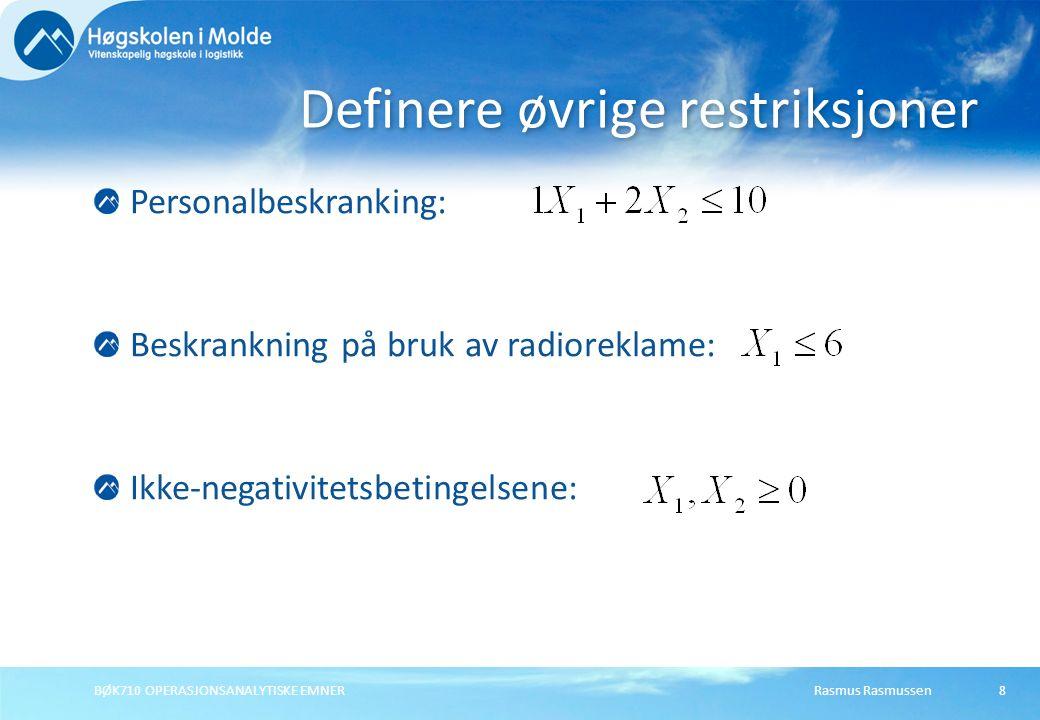 Rasmus RasmussenBØK710 OPERASJONSANALYTISKE EMNER29 X X = antall tonn produsert av produkt X pr periode Y Y = antall tonn produsert av produkt Y pr periode Definere beslutningsvariablene