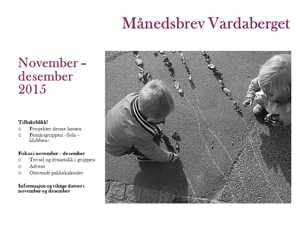Månedsbrev Vardaberget 2015 November – desember 2015 Tilbakeblikk.
