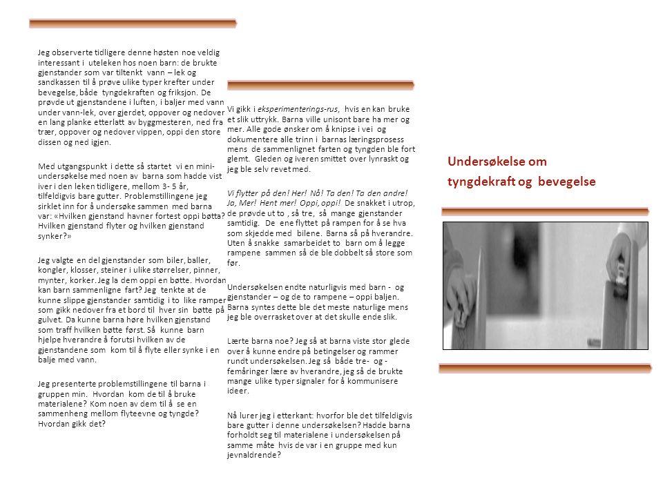 Undersøkelse om lys og skygge I Opptakten til denne undersøkelsen blant ti 3- 4 åringer ble følgende praksisfortelling.
