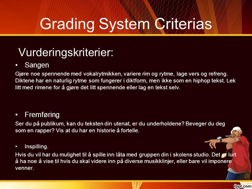 Grading System Criterias Vurderingskriterier: Sangen Gjøre noe spennende med vokalrytmikken, variere rim og rytme, lage vers og refreng.