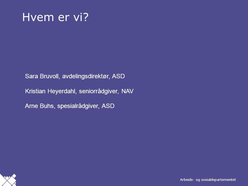 Arbeids- og sosialdepartementet Norsk mal: Nytt tema / skilleark Hvem er vi.