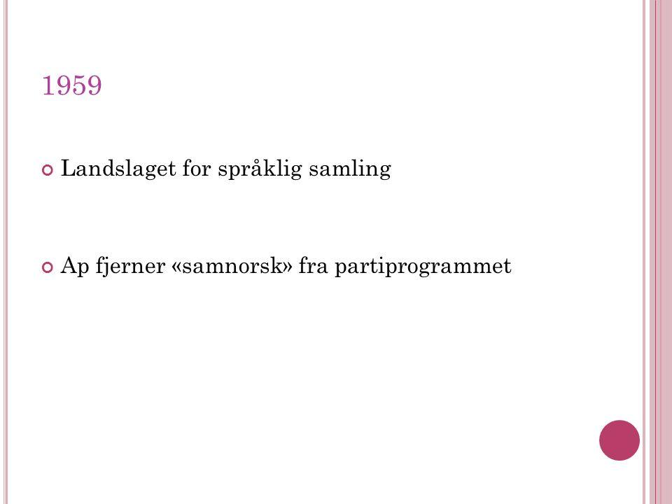 1959 Landslaget for språklig samling Ap fjerner «samnorsk» fra partiprogrammet