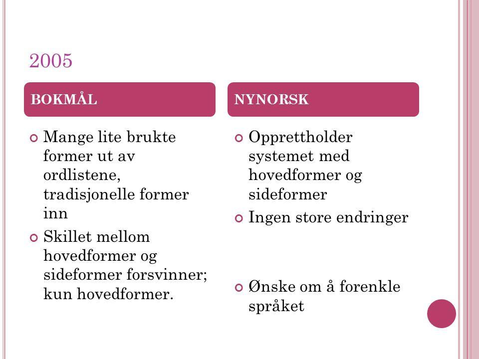 2005 Mange lite brukte former ut av ordlistene, tradisjonelle former inn Skillet mellom hovedformer og sideformer forsvinner; kun hovedformer.