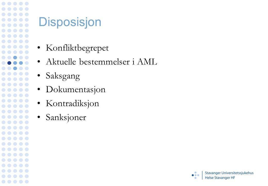Disposisjon Konfliktbegrepet Aktuelle bestemmelser i AML Saksgang Dokumentasjon Kontradiksjon Sanksjoner
