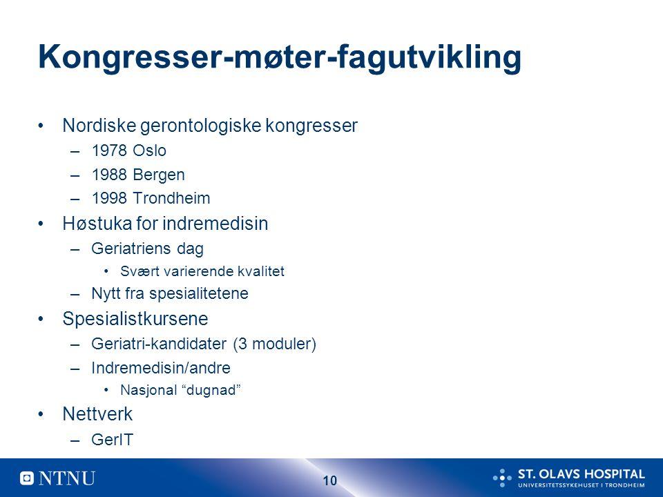 10 Kongresser-møter-fagutvikling Nordiske gerontologiske kongresser –1978 Oslo –1988 Bergen –1998 Trondheim Høstuka for indremedisin –Geriatriens dag