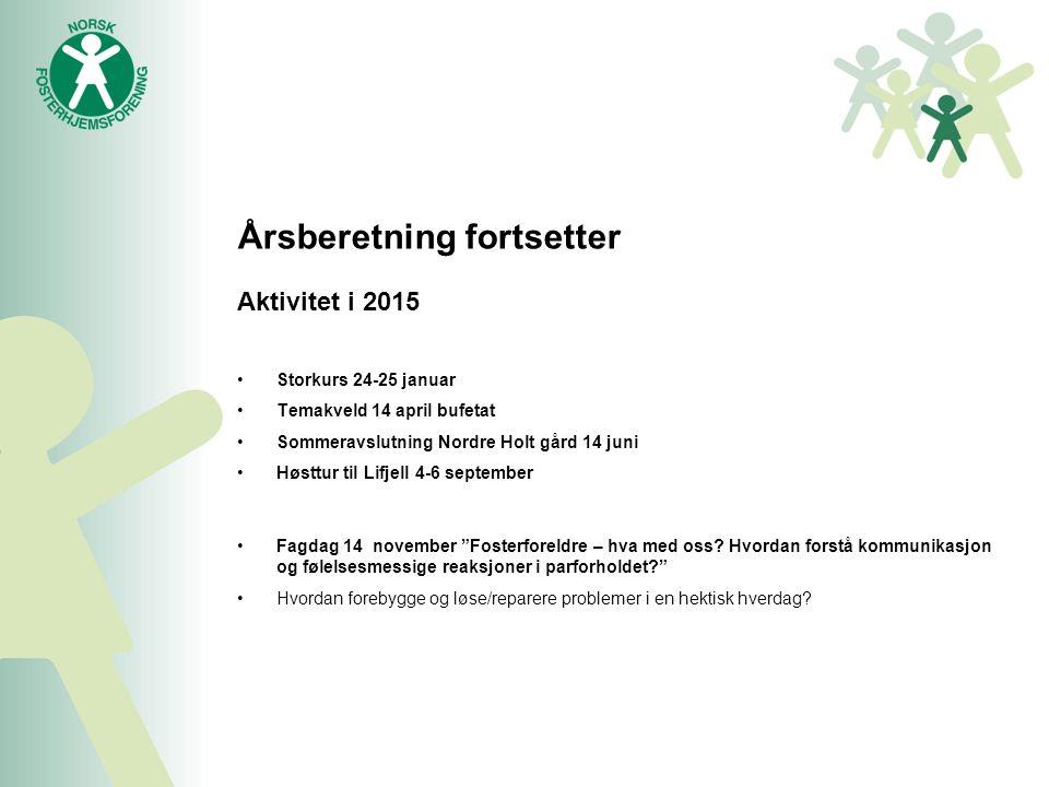 Årsberetning fortsetter Aktivitet i 2015 Storkurs 24-25 januar Temakveld 14 april bufetat Sommeravslutning Nordre Holt gård 14 juni Høsttur til Lifjell 4-6 september Fagdag 14 november Fosterforeldre – hva med oss.