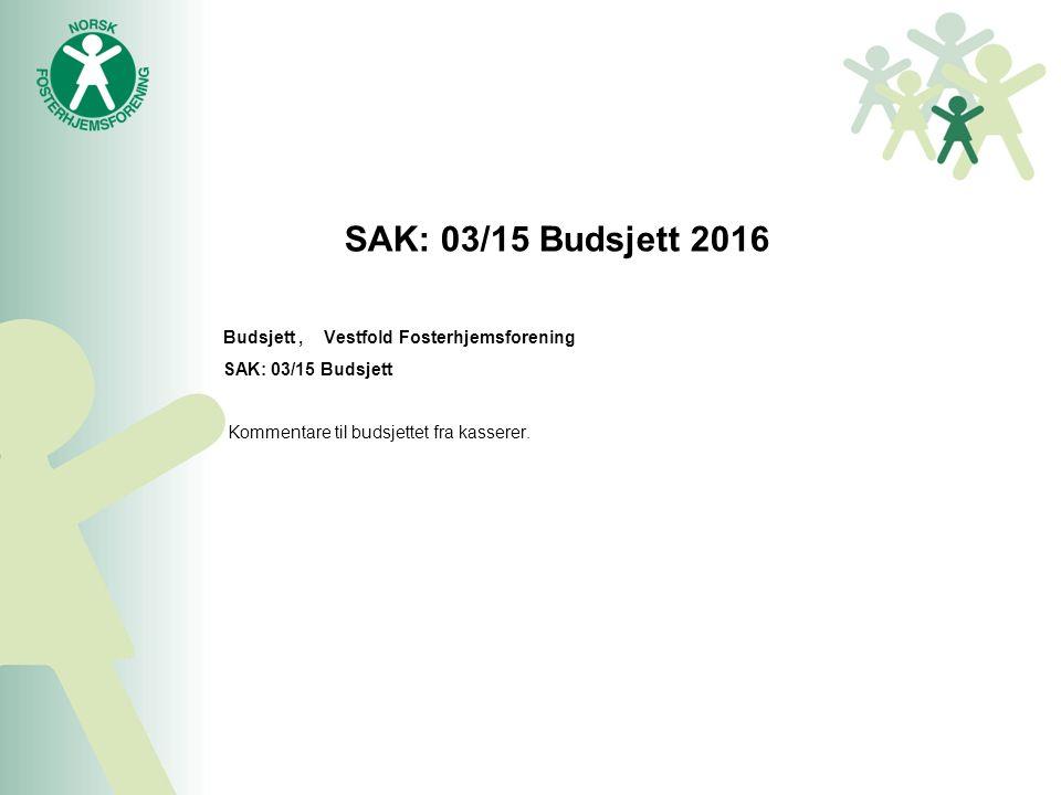 SAK: 03/15 Budsjett 2016 Budsjett, Vestfold Fosterhjemsforening SAK: 03/15 Budsjett Kommentare til budsjettet fra kasserer.