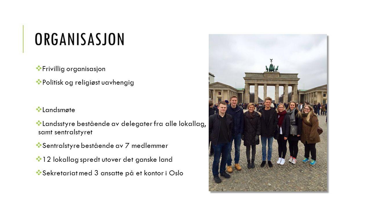 ORGANISASJON  Frivillig organisasjon  Politisk og religiøst uavhengig  Landsmøte  Landsstyre bestående av delegater fra alle lokallag, samt sentralstyret  Sentralstyre bestående av 7 medlemmer  12 lokallag spredt utover det ganske land  Sekretariat med 3 ansatte på et kontor i Oslo