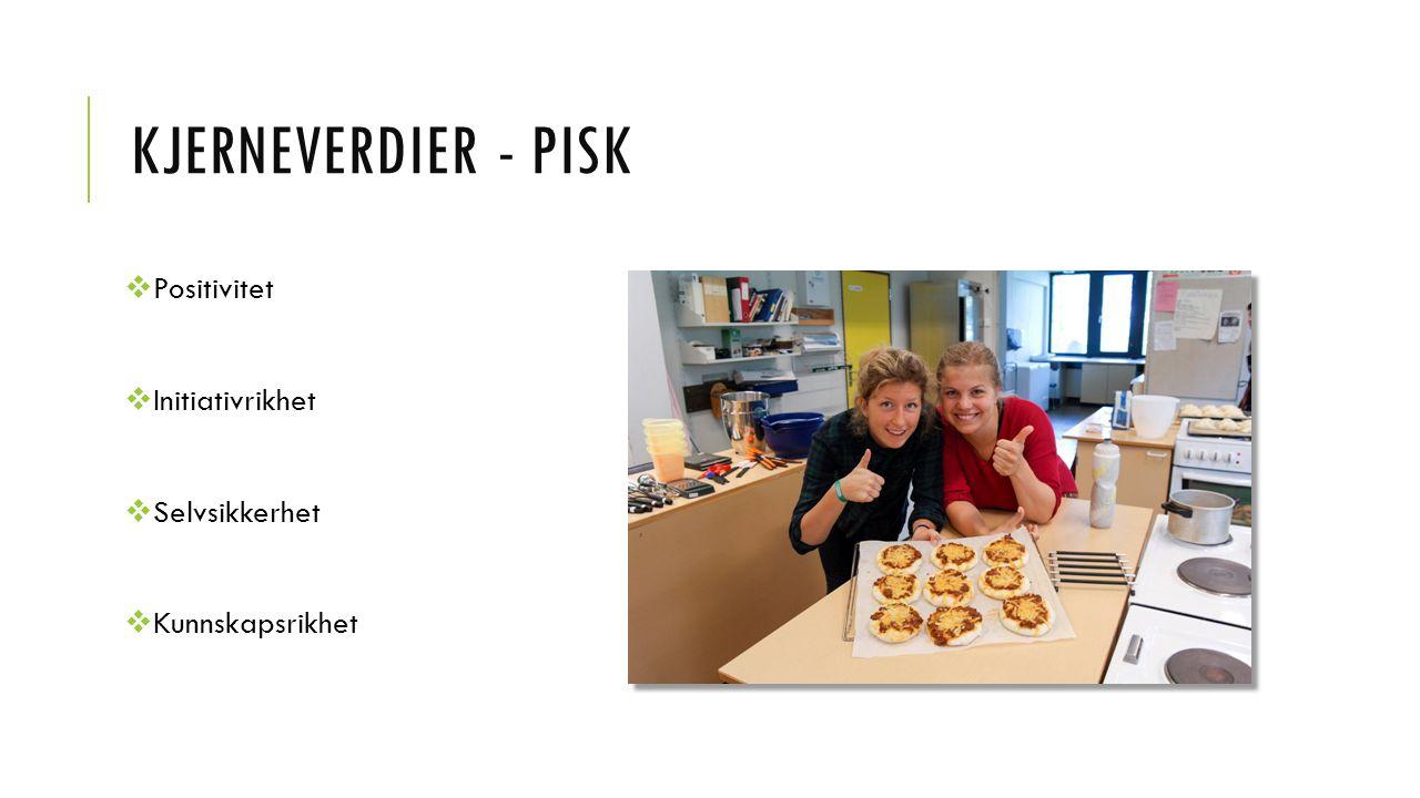 KJERNEVERDIER - PISK  Positivitet  Initiativrikhet  Selvsikkerhet  Kunnskapsrikhet