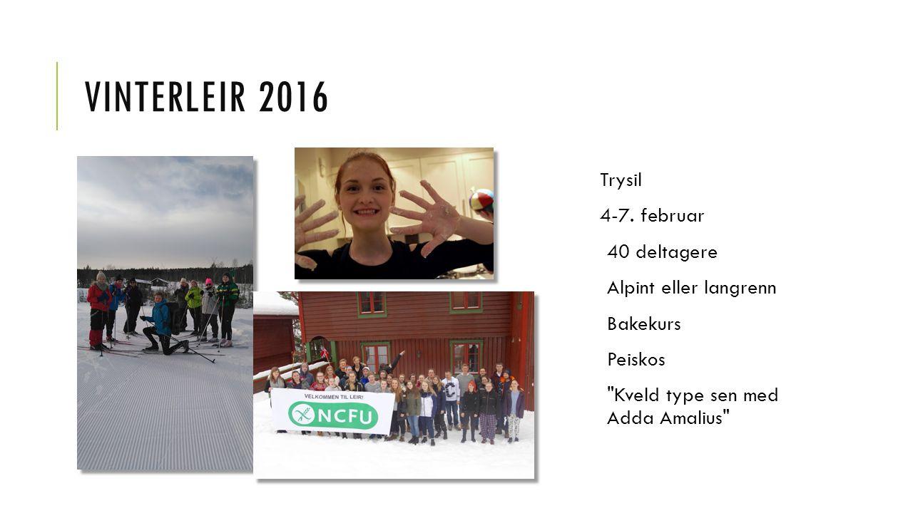 VINTERLEIR 2016 Trysil 4-7. februar 40 deltagere Alpint eller langrenn Bakekurs Peiskos