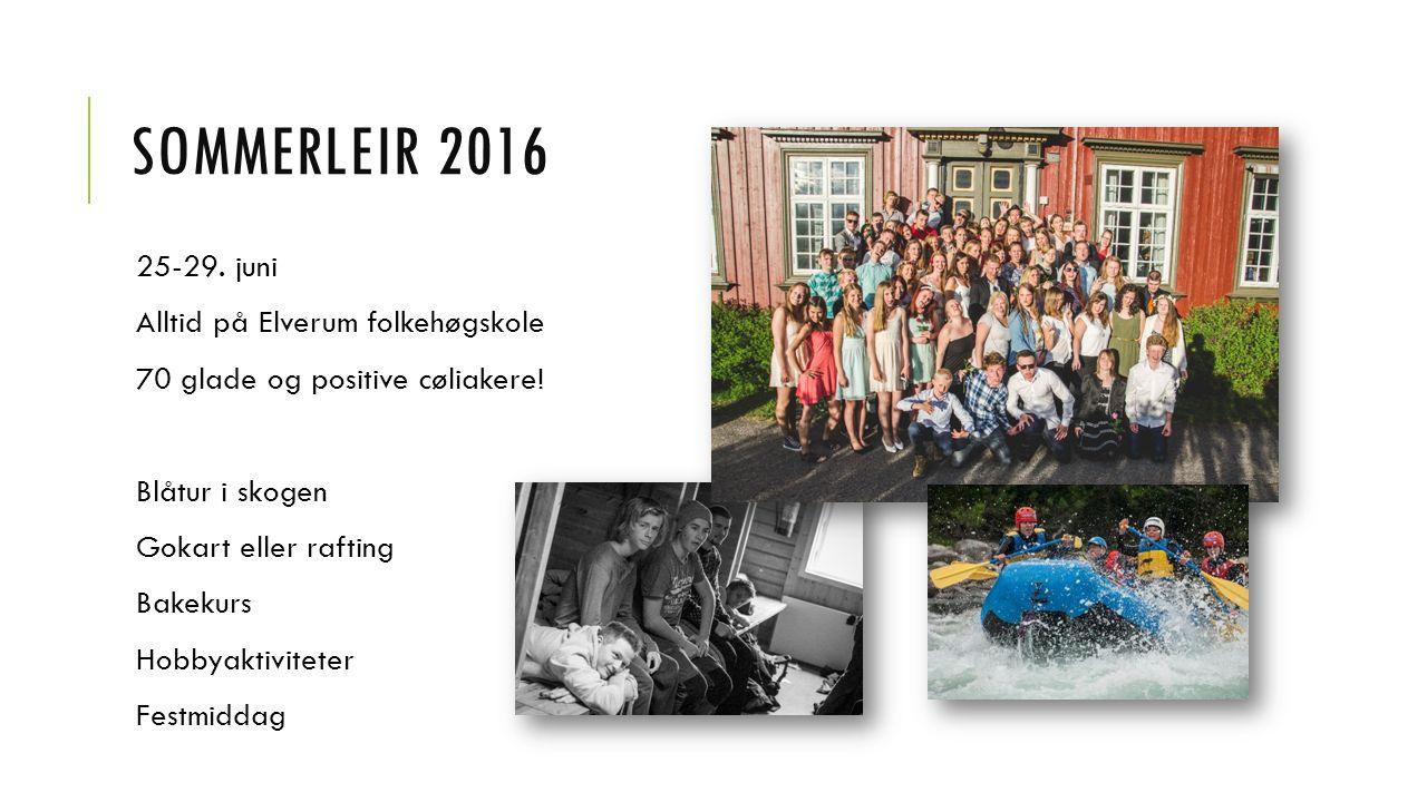 SOMMERLEIR 2016 25-29. juni Alltid på Elverum folkehøgskole 70 glade og positive cøliakere! Blåtur i skogen Gokart eller rafting Bakekurs Hobbyaktivit