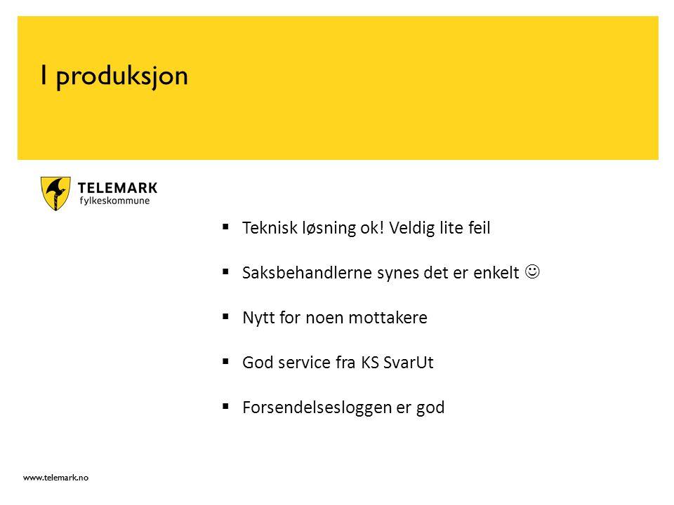 www.telemark.no I produksjon  Teknisk løsning ok.