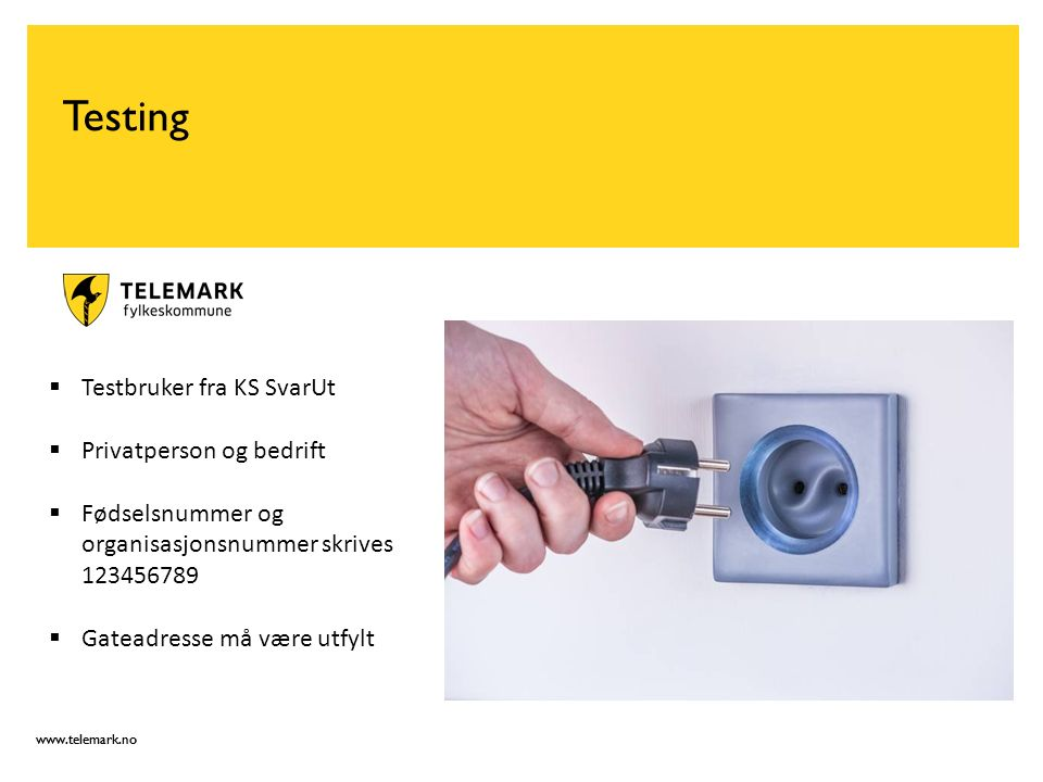 www.telemark.no Testing  Testbruker fra KS SvarUt  Privatperson og bedrift  Fødselsnummer og organisasjonsnummer skrives 123456789  Gateadresse må