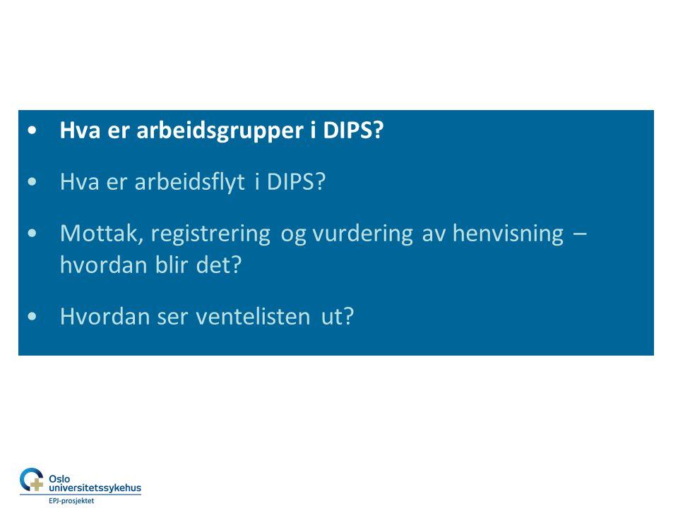 Hva er arbeidsgrupper i DIPS.Hva er arbeidsflyt i DIPS.