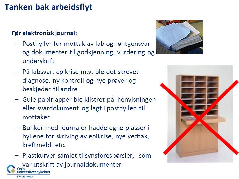 Tanken bak arbeidsflyt Før elektronisk journal: –Posthyller for mottak av lab og røntgensvar og dokumenter til godkjenning, vurdering og underskrift –
