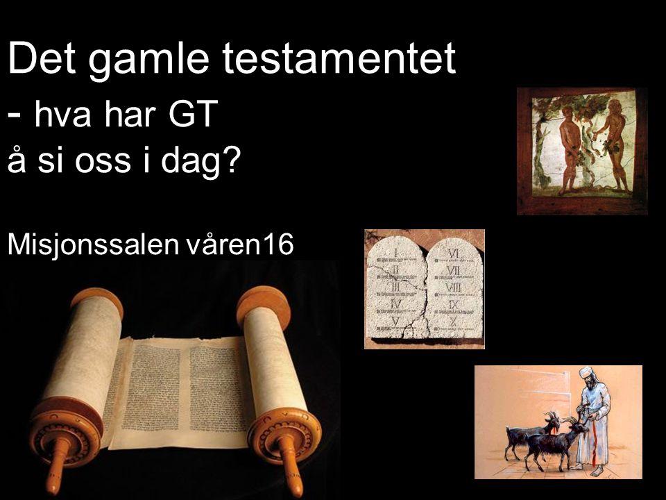 Det gamle testamentet - hva har GT å si oss i dag? Misjonssalen våren16
