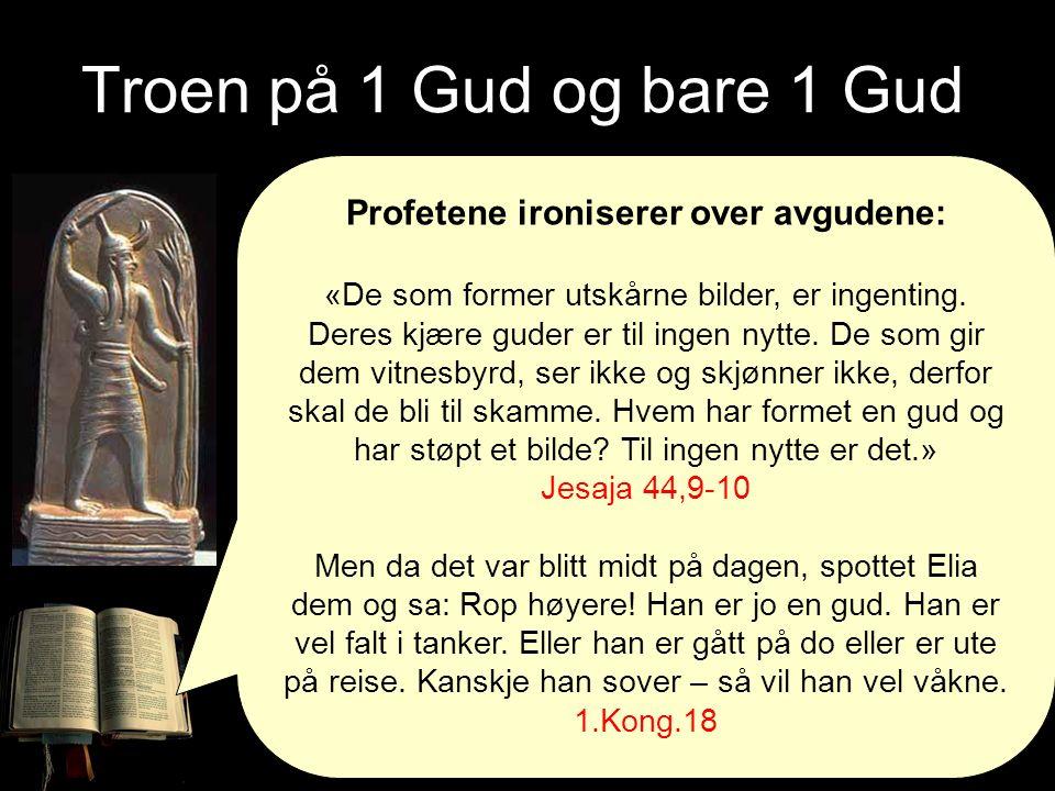 Troen på 1 Gud og bare 1 Gud Profetene ironiserer over avgudene: «De som former utskårne bilder, er ingenting. Deres kjære guder er til ingen nytte. D