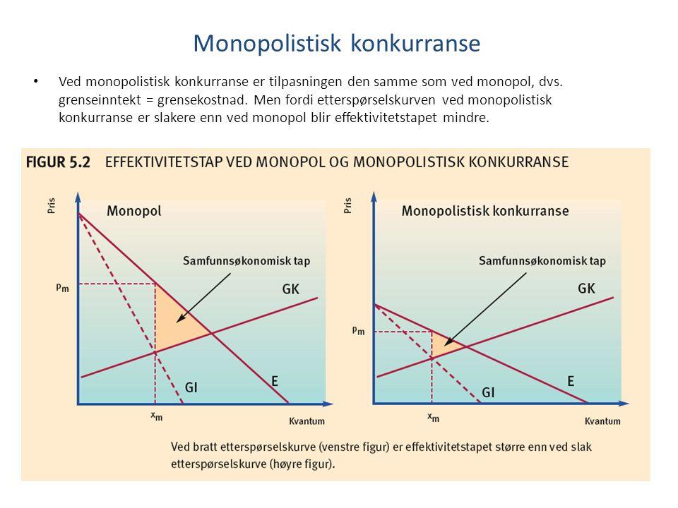 Ved monopolistisk konkurranse er tilpasningen den samme som ved monopol, dvs. grenseinntekt = grensekostnad. Men fordi etterspørselskurven ved monopol