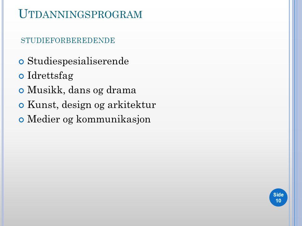 U TDANNINGSPROGRAM STUDIEFORBEREDENDE Studiespesialiserende Idrettsfag Musikk, dans og drama Kunst, design og arkitektur Medier og kommunikasjon Side 10