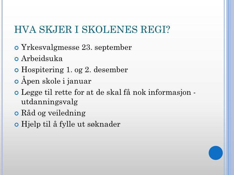 HVA SKJER I SKOLENES REGI. Yrkesvalgmesse 23. september Arbeidsuka Hospitering 1.