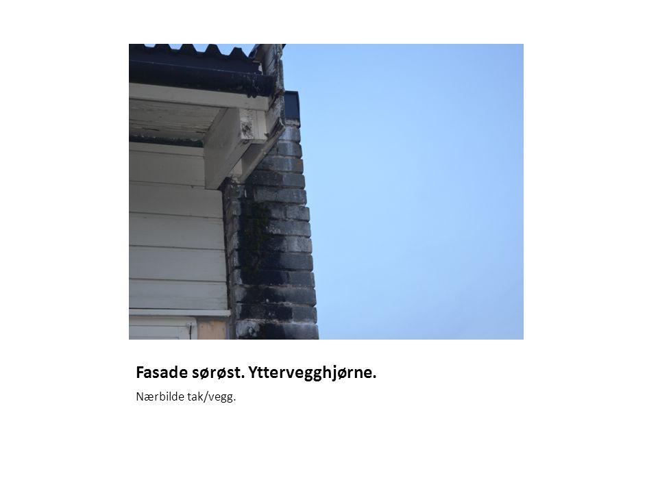 Fasade sørøst. Yttervegghjørne. Nærbilde tak/vegg.