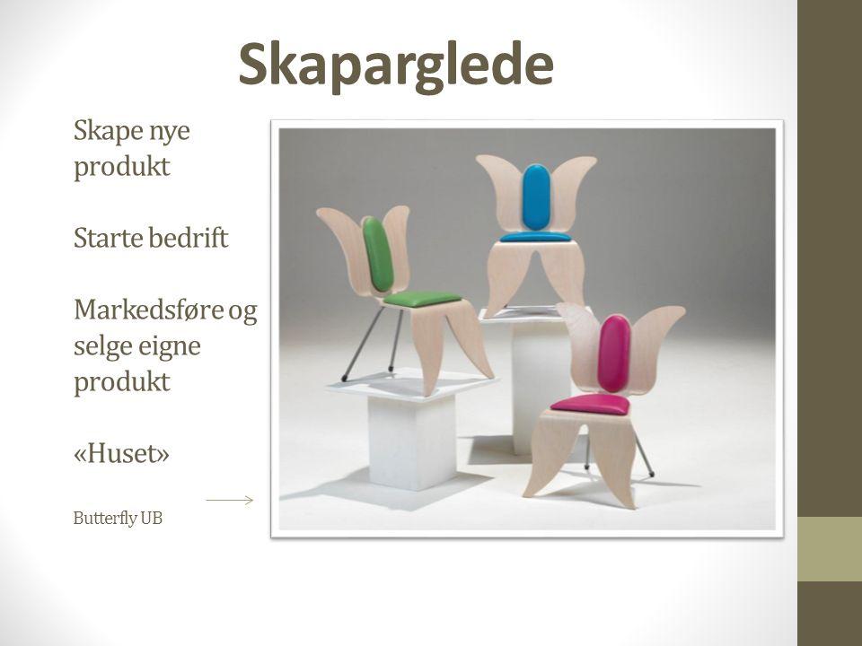 Skape nye produkt Starte bedrift Markedsføre og selge eigne produkt «Huset» Butterfly UB Skaparglede