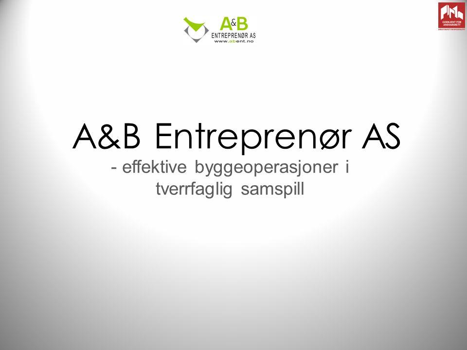 Kort om oss A&B Entreprenør AS tilbyr utførelse av byggeprosjekt, alt fra totalentrepriser til serviceoppdrag.
