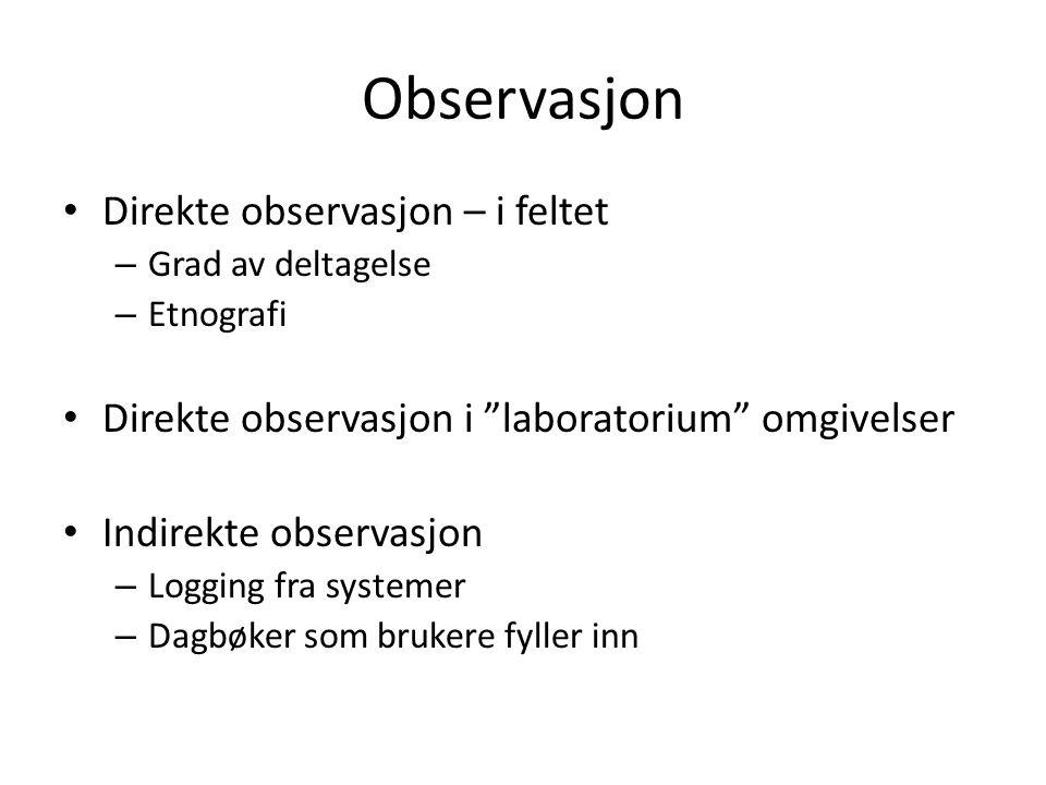 Observasjon Direkte observasjon – i feltet – Grad av deltagelse – Etnografi Direkte observasjon i laboratorium omgivelser Indirekte observasjon – Logging fra systemer – Dagbøker som brukere fyller inn