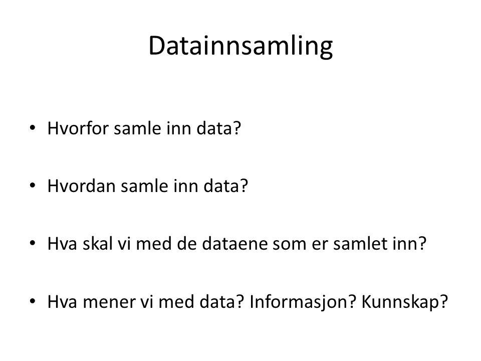 Datainnsamling Hvorfor samle inn data? Hvordan samle inn data? Hva skal vi med de dataene som er samlet inn? Hva mener vi med data? Informasjon? Kunns