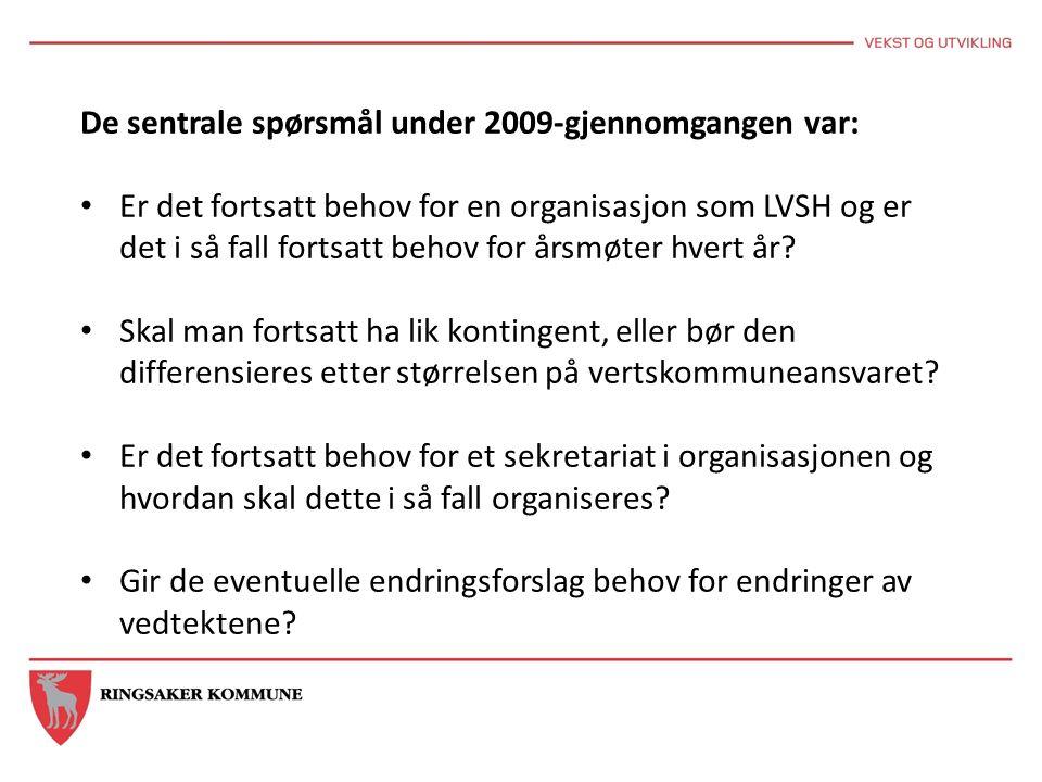 De sentrale spørsmål under 2009-gjennomgangen var: Er det fortsatt behov for en organisasjon som LVSH og er det i så fall fortsatt behov for årsmøter hvert år.